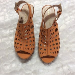 Franco Sarto Laser Cut Sassy Suede Wedge Sandals